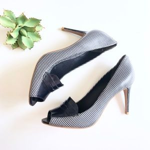 Tory Burch Gingham Leather Loafer Heels Navy 10